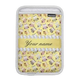 Chic Owls Faux Gold Foil Bling Diamonds Sleeve For iPad Mini