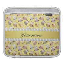 Chic Owls Faux Gold Foil Bling Diamonds Sleeve For iPads