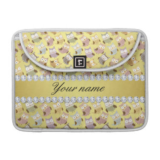 Chic Owls Faux Gold Foil Bling Diamonds Sleeve For MacBook Pro