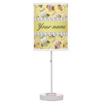 Chic Owls Faux Gold Foil Bling Diamonds Table Lamp