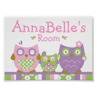 Chic Owls Personalized Name Poster
