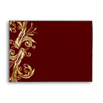 Chic Oxblood and Gold Wedding Envelope