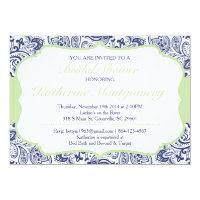 Chic Paisley Bridal Shower Invitation Navy Mint