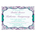 Chic Paisley Bridal Shower Invitation Purple Teal