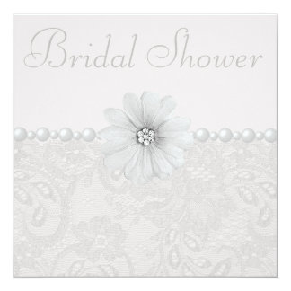Chic Paisley Lace, Flowers & Pearls Bridal Shower Card