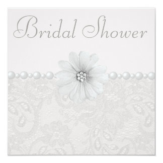 """Chic Paisley Lace, Flowers & Pearls Bridal Shower 5.25"""" Square Invitation Card"""