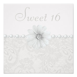 Chic Paisley Lace, Flowers & Pearls Sweet 16 5.25x5.25 Square Paper Invitation Card