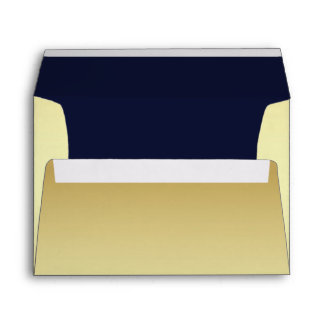 Chic Pale Gold and Navy Blue Custom Envelopes