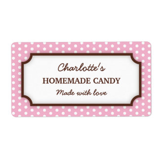 Chic pale pink polka dot dots pattern canning jar label