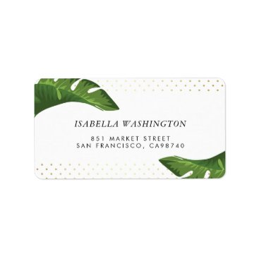 Beach Themed Chic Palm Leaves Tropical Wedding Address Label
