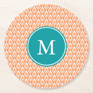CHIC PAPER COASTER_MODERN TANGERIN/TURQUOISE/WHITE ROUND PAPER COASTER