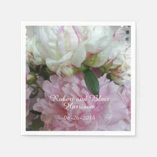 CHIC PAPER NAPKIN_SOFT PINK AND WHITE PEONIES PAPER NAPKIN