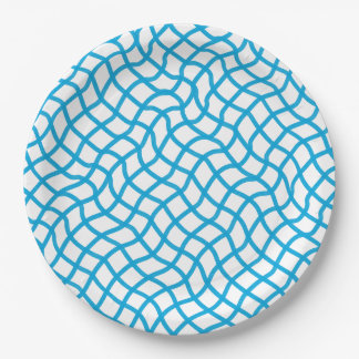 CHIC PAPER PLATE_142 TURQUOIS/WHITE WAVY GEOMETRIC 9 INCH PAPER PLATE