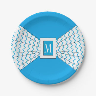 CHIC PAPER PLATE_142 TURQUOISE/WHITE ZIGZAG BOW PAPER PLATE