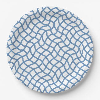 CHIC PAPER PLATE_ 155 BLUE/WHITE WAVY GEOMETRIC 9 INCH PAPER PLATE