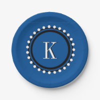 CHIC PAPER PLATE_156 BLUE/WHITE/BLACK PAPER PLATE