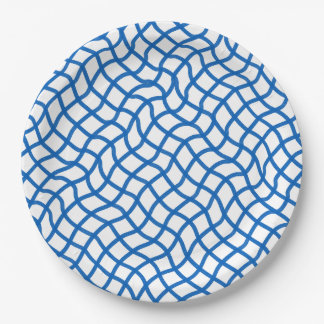 CHIC PAPER PLATE_164 BLUE/WHITE WAVY LATTICE 9 INCH PAPER PLATE