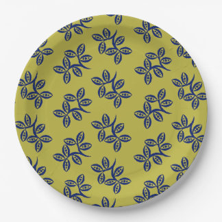 CHIC PAPER PLATE_168 BLUE FLORAL ON YELLOW PAPER PLATE