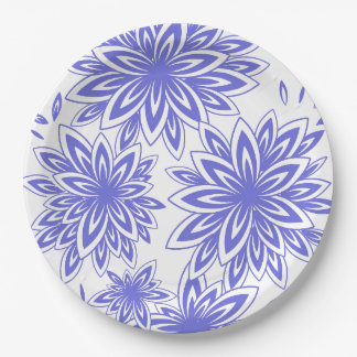 CHIC PAPER PLATE_173 PERIWINKLE/WHITE FLORAL PAPER PLATE