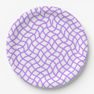 CHIC PAPER PLATE_191 LILAC/WHITE WAVY LATTICE 9 INCH PAPER PLATE