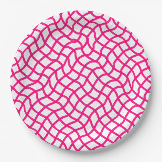 CHIC PAPER PLATE_230 PINK/WHITE WAVY GEOMETRIC 9 INCH PAPER PLATE