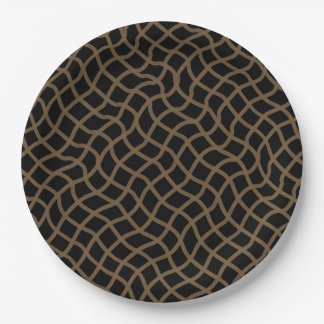 CHIC PAPER PLATE_39 BROWN/BLACK WAVY GEOMETRIC 9 INCH PAPER PLATE