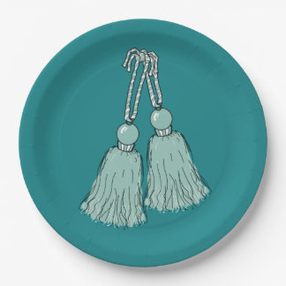 CHIC PAPER PLATE_415 MINT TASSELS ON PEACOCK BLUE PAPER PLATE