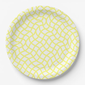 CHIC PAPER PLATE_51 YELLOW/WHITE WAVY LATTICE 9 INCH PAPER PLATE