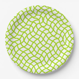 CHIC PAPER PLATE_62 GREEN/WHITE WAVY LATTICE 9 INCH PAPER PLATE