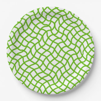 CHIC PAPER PLATE_74 GREEN/WHITE WAVY LATTICE 9 INCH PAPER PLATE