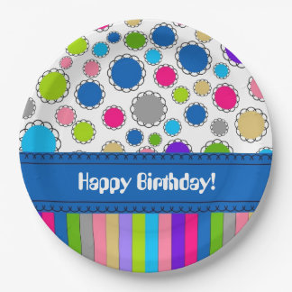CHIC PAPER PLATE_BIRTHDAY DOTS/STRIPES PAPER PLATE