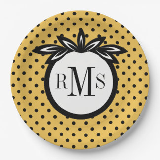CHIC PAPER PLATE_BLACK DOTS/FLORAL ON MERIGOLD PAPER PLATE