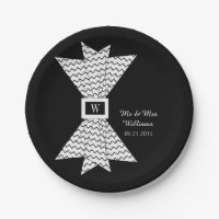 CHIC PAPER PLATE_BLACK/WHITE ZIGZAG BOW PAPER PLATE