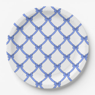 CHIC PAPER PLATE_GIRLY PERIWINKLE BLUE BOWS PAPER PLATE