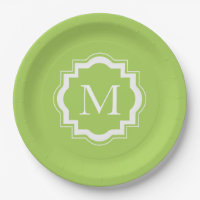 CHIC PAPER PLATE_LOVELY GREEN SOLID & MONOGRAM PAPER PLATE