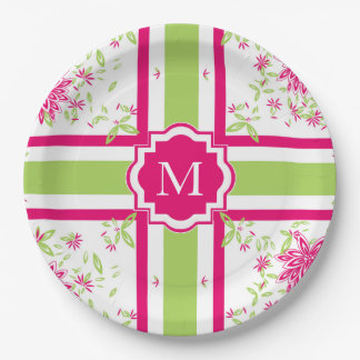 CHIC PAPER PLATE_LOVELY HOT PINK/GREEN FLORAL PAPER PLATE