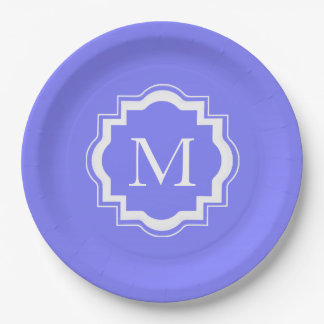 CHIC PAPER PLATE_LOVELY PERIWINKL SOLID/MONOGRAM PAPER PLATE