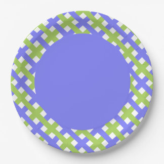 CHIC PAPER PLATE_LOVELY PERIWINKLE/GREEN LATTICE PAPER PLATE