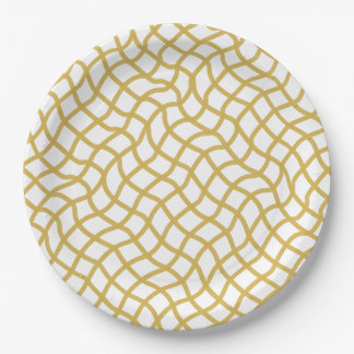 CHIC PAPER PLATE_ MERIGOLD/WHITE WAVY GEOMETRIC 9 INCH PAPER PLATE