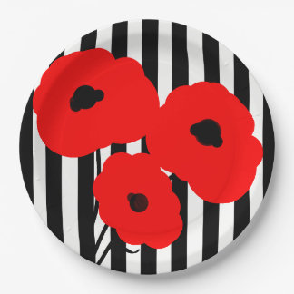 CHIC PAPER PLATE_MOD RED POPPIES ON STRIPES PAPER PLATE