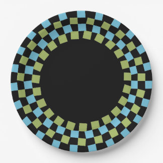CHIC PAPER PLATE_MODERN 143 TURQUOISE/GREEN/BLACK PAPER PLATE