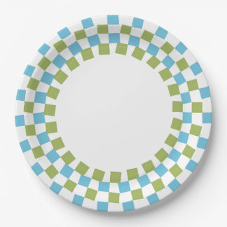 CHIC PAPER PLATE_MODERN 143 TURQUOISE/GREEN/WHITE PAPER PLATE