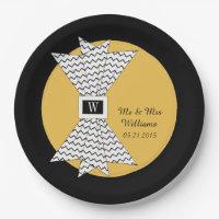 "CHIC PAPER PLATE_""Mr & Mrs"" MERIGOLD/BLACK/WHITE Paper Plate"
