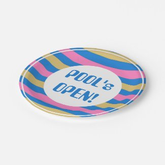 """CHIC PAPER PLATE_""""POOL'S OPEN!"""" BLUE/PINK/YELLOW 7 INCH PAPER PLATE"""