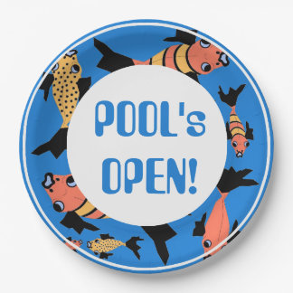 """CHIC PAPER PLATE_""""POOL'S OPEN!"""" FISH_PEACH/BOLD PAPER PLATE"""