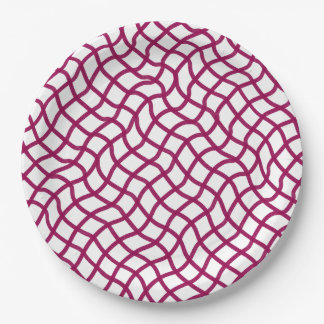 CHIC PAPER PLATE_ RASBERRY/WHITE WAVY GEOMETRIC 9 INCH PAPER PLATE
