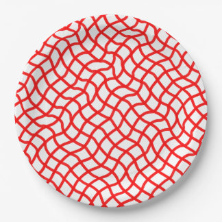 CHIC PAPER PLATE_RED/WHITE WAVY LATTICE 9 INCH PAPER PLATE