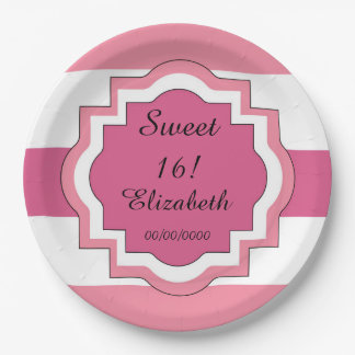 CHIC PAPER PLATE_SWEET 16! PINK/WHITE STRIPES #1 PAPER PLATE  sc 1 st  Zazzle & Chic Sweet 16 Plates | Zazzle