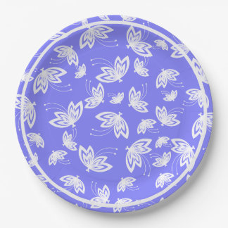 CHIC PAPER PLATE_WHITE BUTTERFLIES ON PERIWINKLE PAPER PLATE