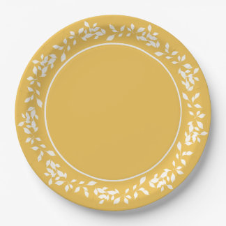 CHIC PAPER PLATE_WHITE LEAVES ON MERIGOLD#3 PAPER PLATE